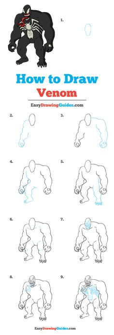 Learn to draw Venom. This step-by-step tutorial makes it easy. Kids and beginners alike can now draw a great looking Venom. Drawing Tutorials For Kids, Easy Drawings For Kids, Drawing For Kids, Drawing Ideas, Spiderman Drawing, Spiderman Face, Marvel Drawings, Cartoon Drawings, Art Drawings
