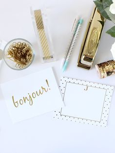 Gorgeous gold foil stationery from jennybevlin.com