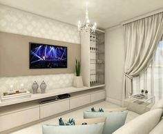 No photo description available. Living Room Wall Units, Living Room Tv Unit Designs, Living Room Modern, Interior Design Living Room, Living Room Decor, Tv Unit Decor, Tv Wall Decor, Tv Wall Design, Home Office Decor