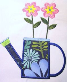 Watering Can With Flowers Machine Applique Embroidery by KCDezigns, $3.50