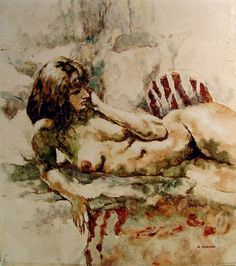 Nude On Zebra Rug Oil On Canvas on Chairish.com