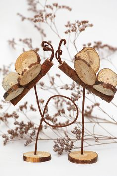 wood butterfly centerpiece, rustic wedding by EcoWood, via Etsy.