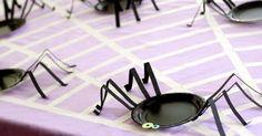 Platos de araña para una fiesta de Halloween