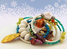 Your Colourful Dream   Rainbow  Memory wire bracelet by OceanBead, $48.00