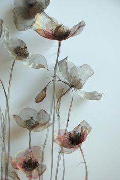 Pretty floral fiber art by Michelle McKinney Art Floral, Fabric Flowers, Paper Flowers, Craft Flowers, Drawing Flowers, Bouquet Flowers, Painting Flowers, Flowers Garden, Spring Flowers