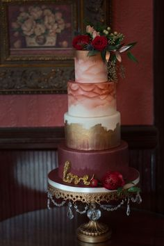 Dreamy Burgundy Watercolor Wedding Cake | Elegantly Moody Classic Vintage Bridals At Biltmore Village Inn | Photograph by Audrey Goforth Photography  http://storyboardwedding.com/moody-classic-vintage-bridals-biltmore-village-inn/