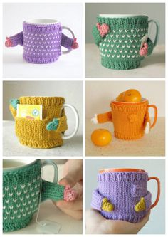 """DIY Mug Sweaters from mugsweater's Etsy store.This is a BUY or DIY post for these knit or crochet mug sweaters with poseable """"arms"""".The BUY prices range from aproximately $18.75 to $22.50.You can also purchase a pattern from mugsweater for $5.50 and DIY your own - both knit and crochet versions are in the PDF file. If you choose to knit or crochet your own mug sweater, this is an absolute beginner project."""
