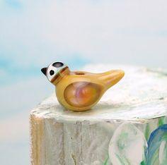Bird bead. Handmade lampwork glass bird pendant. by glassdaft