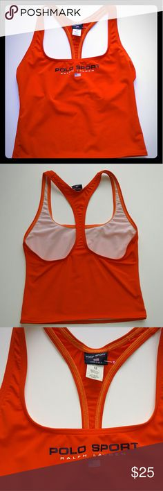 90s POLO Sport Ralph Lauren Racer Back Top Orange - Size Small This is an awesome sport top in bright orange in nylon/spandex. Front of top is lined. Made in USA. Tagged a size 12, but please see measurements to ensure fit. Excellent condition. Some very faint discoloration on the back is pictured. B:Approximately 33-36 L:19 _______________________________________ Polo by Ralph Lauren Swim Bikinis