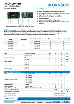 AC DC converter design series is a high efficiency green power modules provided by Mornsun. The features of this series are: Accept either AC or DC input, wide input voltage, high efficiency, low loss, safety isolation etc. Open Frame, Ac Dc