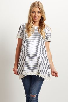Navy Blue Striped Floral Trim Short Sleeve Maternity Top
