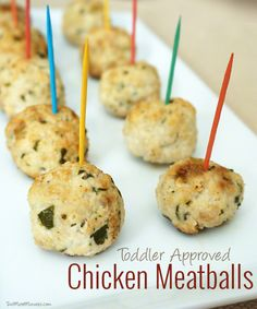 Bellini Chicken Meatball Recipe - Healthy and yummy! Healthy Living Recipes, Healthy Food Choices, Baby Food Recipes, Chicken Meatball Recipes, Chicken Meatballs, Healthy Prepared Meals, Finger Foods For Kids, Bellini Recipe, Party Food And Drinks