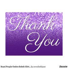Royal Purple Ombre Bokeh Glitter Thank You Postcard