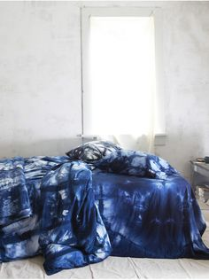 Indigo Itajime hand-dyed duvet cover & pillowcases