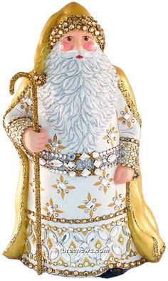 Grande Santa Sculpture (Gold, White)  Patricia Breen Designs, Complimentary Ornament, One of a Kind (Glasses)