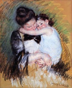 """Mother and Child"" (circa by American artist - Mary Cassatt Pastel on buff paper, 73 x cm. Edgar Degas, Renoir, Monet, Mary Cassatt Art, Berthe Morisot, Post Impressionism, Chalk Pastels, Oil Pastels, Mother And Child"