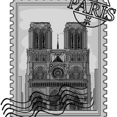 'Paris Notre Dame Stamp' by Framed Prints, Canvas Prints, Art Prints, Cool Stickers, Long Hoodie, Decorative Throw Pillows, Art Boards, Cool T Shirts, Notre Dame