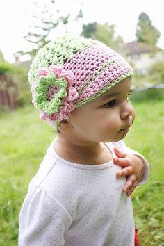 3 to 6m Newsgirl Hat Summer Sun Hat Crochet Flower Flapper Beanie - Girl Flower Hat in Lime Green, Baby Pink Merino Baby Hat. $28.00, via Etsy.