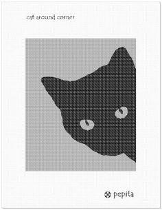 Needlepoint Kit or Canvas: Cat Around Corner