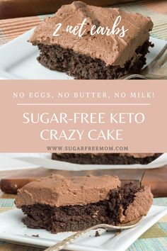 This Sugar Free Low Carb Chocolate Crazy Cake needs NO eggs NO butter and No milk! Diabetic Desserts, Sugar Free Desserts, Sugar Free Recipes, Low Carb Desserts, Gluten Free Desserts, Dessert Recipes, Sugar Free Cakes, Keto Recipes, Loaf Recipes