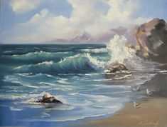 Seascape painting Ocean waves ORIGINAL oil painting, 18*24 inches Oil on canvas blue water rocks seagulls beach fine art by Nadia Gurkova 326.70