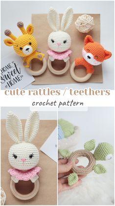 Crochet pattern baby animals rattle and teether, Fast Crochet, Cute Crochet, Crochet Doll Pattern, Crochet Patterns Amigurumi, Häkelanleitung Baby, Crochet Animal Amigurumi, Stuffed Toys Patterns, Baby Patterns, Baby Knitting