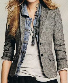 The stacking of textures is clever and the jean jacket adds a bit of rebellion to the tweed blazer <3 it