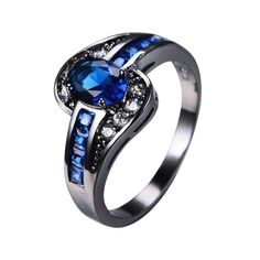 Female Oval Ring Black Gold Filled Jewelry Vintage Wedding Rings For Women Birth Stone Girlfriend Gifts