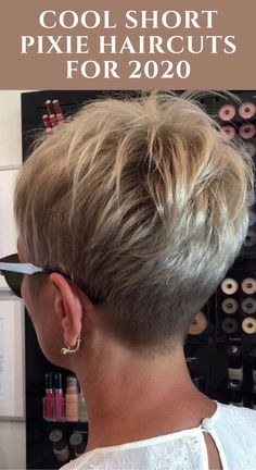 Short Pixie Haircuts, New Haircuts, Pixie Hairstyles, Short Haircut, Short Hair Cuts For Women, Short Hair Styles, Hair Barrettes, Hair Clips, Short Hair Back View