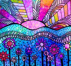Dreamscape 5 x 5 inch flowers sun by RobinMeadDesigns Zen Doodle, Doodle Art, Wal Art, Illustrator, Printable Adult Coloring Pages, Arte Floral, Art Journal Inspiration, Whimsical Art, Art Plastique