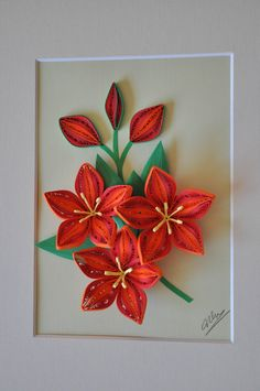 3D red and orange flowers paper quilling shadow box
