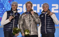 DAY 13:  (L-R) Silver medalist Steve Missillier of France, gold medalist Ted Ligety of the United States and bronze medalist Alexis Pinturault of France celebrate on the podium during the medal ceremony for the Alpine Skiing Men's Giant Slalom http://sports.yahoo.com/olympics
