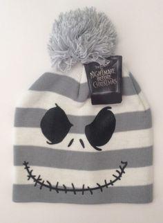 THE NIGHTMARE BEFORE CHRISTMAS Jack Skellington Beanie Hat Gray NEW #DisneyJackSkellington #Beanie