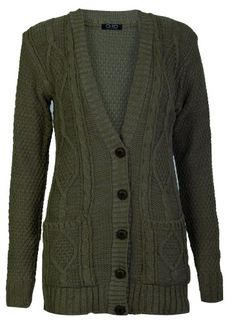 5338df20f4 Aislinn Womens Cable Knitted Grandad Button Cardigan One Size (UK Fits 8-14)