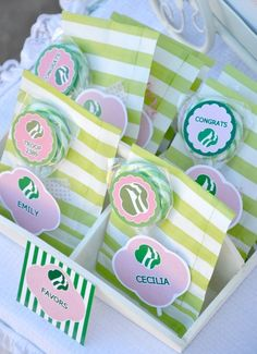 Candy favors at a Girl Scout Party #girlscouts #party