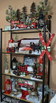 Dining Delight: Red Truck Christmas Etagere