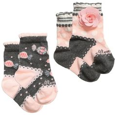 Monnalisa Bebe Baby Girls Pink Grey Cotton Socks (Pack of 2) ($38) ❤ liked on Polyvore featuring baby