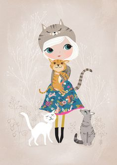 Cat Lover....Giclee print of an original por DrawnByRebeccaJones