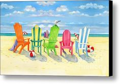 Brighton Beach Chairs Canvas Print / Canvas Art By Paul Brent