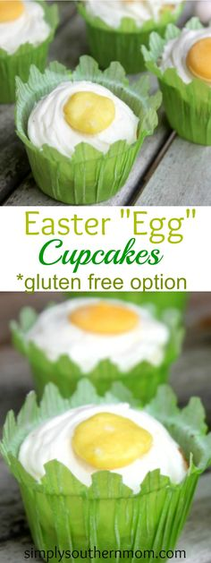 """These cute Easter """"Egg"""" cupcakes are simple to make and have an """"egg yolk"""" that can be made 3 different ways! There's also a gluten free option. Adorable dessert for Easter parties! Birthday Dinner Menu, Birthday Breakfast, Breakfast For Kids, Best Breakfast, Farm Birthday, Husband Birthday, Birthday Ideas, Easy Gluten Free Desserts, Healthy Dessert Recipes"""