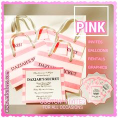 Victorias Secret Pink Themed Invitations And Labels Pink in Incredible Themed Invitations Sleepover Birthday Parties, Summer Birthday, Pink Birthday, Birthday Party Decorations, Pink Invitations, Printable Birthday Invitations, Sweet 16 Parties, Pink Parties, Victoria Secret Party