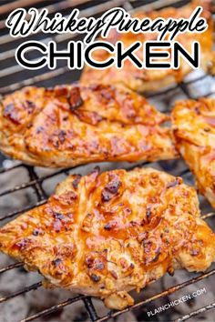 Pineapple Chicken - Recipes To Try - Whiskey Pineapple Chicken – delicious! Chicken marinated in whiskey, pineapple juice, BBQ sauce, Worcestershire, garlic and pepper. Let the chicken marinate at least 24 hours for the best flavor. Meat Recipes, Cooking Recipes, Healthy Recipes, Salmon Recipes, Smoker Grill Recipes, Healthy Grilled Chicken Recipes, Best Grill Recipes, Recipes Dinner, Grilled Desserts