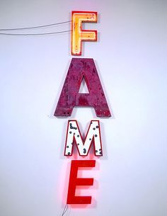 Jack Pierson  FAME, 2005  Plastic, metal, wood and neon  160 x 45 x 4 inches  406.4 x 114.3 x 10.2 centimeters  CR# PI.11809  Cheim & Read