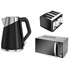 Tower Kitchen Appliance Set - 20 L Pull Handle Digital Microwave, Black Ribbed Linear 1.7L Kettle and Black Ribbed 4-Slice Linear Toaster: Amazon.co.uk: Kitchen & Home. Kitchen appliances. It's an Amazon affiliate link.