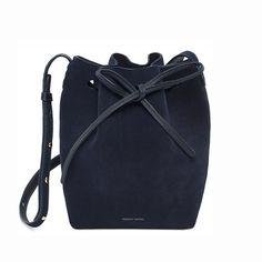Mansur Gavriel Mini Blu Suede Bucket Bag / Shop Super Street