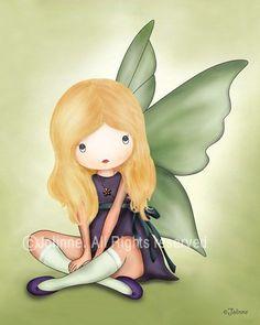 guardian angel light green Girls wall art nursery by jolinne, $15.00