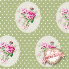 """Sunshine Roses PWTW069-GREEN Green Oldtime Roses By Tanya Whelan For Free Spirit: Sunshine Roses is a collection by Tanya Whelan for Free Spirit. 100% cotton. 43/44"""" wide.  This fabric features small pink cameo roses on a green background with cream dots."""
