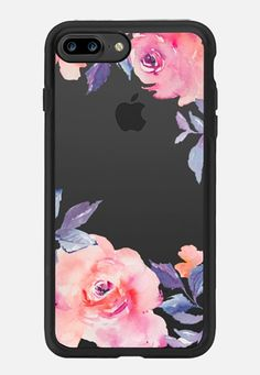 Casetify iPhone 7 Plus Classic Grip Case - Cute Watercolor Flowers Purples…