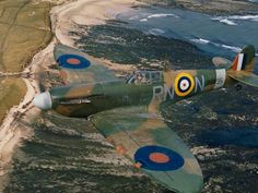 """A Spitfire Mk II of 72 Squadron over the northeast coast of Britain, April 1941. """"After the Battle of Britain,"""" writes historian Ian Carter, """"RAF Fighter Command went on the offensive, carrying out sweeps over the fringes of enemy-occupied Europe. The aim was to tie down Luftwaffe fighter squadrons. But RAF fighters lacked the range to penetrate far inland, and losses were heavy. 560 aircraft were lost in 1941 alone."""" (Imperial War Museums)"""