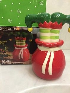 Kirkland's Elf Legs Christmas Stacked Salt & Pepper shakers New in Box